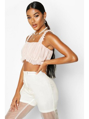Boohoo Mesh Ruched Crop Top