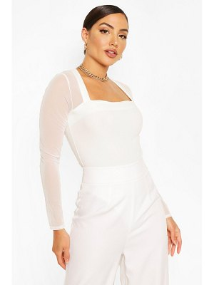 Boohoo Mesh Square Neck Long Sleeve One Piece