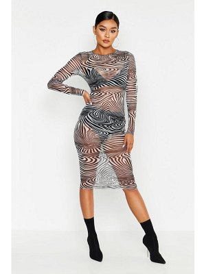 Boohoo Mesh Zebra Print Midi Dress