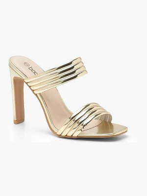 Boohoo Metallic Double Band Flat Heel Mules