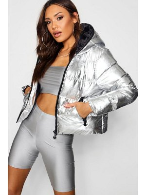 Boohoo Metallic Hood Zip Padded Jacket