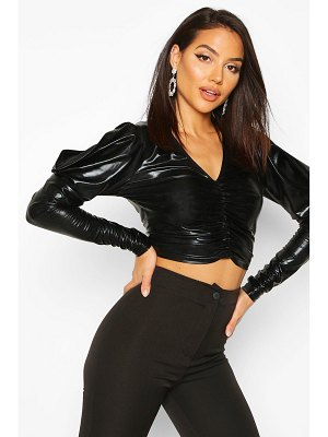 Boohoo Metallic Ruched Front Top With Dramatic Shoulders
