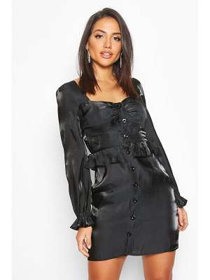 Boohoo Metallic Satin Button Detail Mini Dress