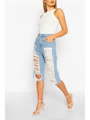 Boohoo Mid Rise Distressed Longline Denim Shorts