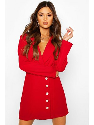 Boohoo Military Button Blazer Dress