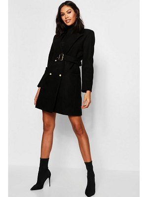 Boohoo Military Double Breasted Wool Look Coat