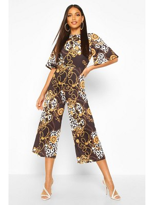 Boohoo Mixed Chain Print Flared Sleeve Culotte Jumpsuit