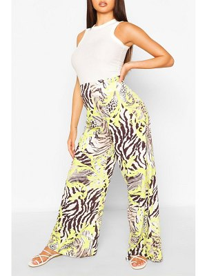 Boohoo Mixed Print Wide Leg Trouser