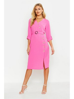 Boohoo Mock Horn Button Belted Midi Dress