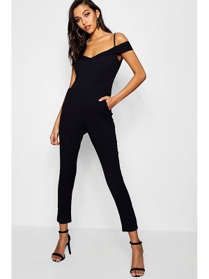Boohoo Tailored Cold Shoulder Jumpsuit