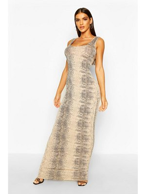 Boohoo Natural Snake Print Maxi Dress