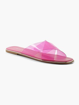 Boohoo Neon Clear Cross Front Square Toe Sliders