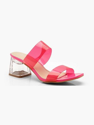 Boohoo Neon Clear Strap Mules