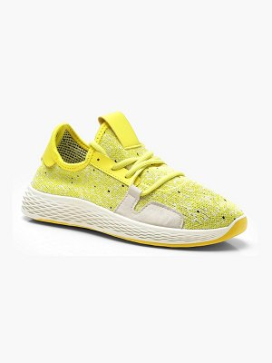 Boohoo Neon Lace Up Knitted Sports Sneakers