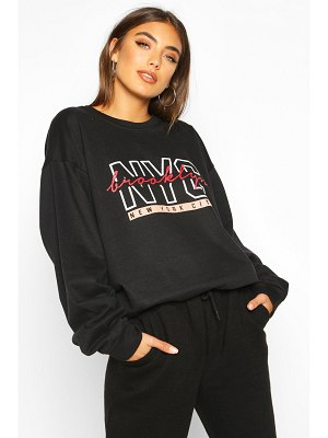 Boohoo NYC Brooklyn Slogan Print Sweatshirt