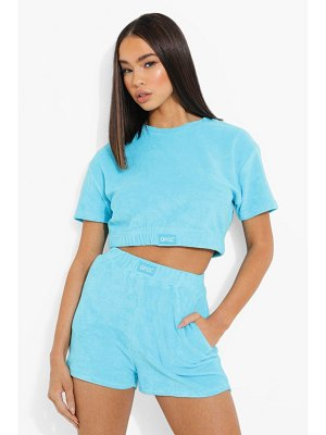 Boohoo Ofcl Woven Tab Towelling Crop Top