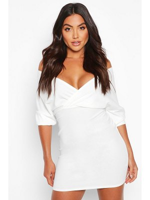 Boohoo Off Shoulder Crepe Mini Dress