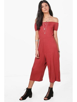 Boohoo Off Shoulder Jersey Culotte Jumpsuit