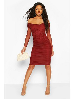 Boohoo Off Shoulder Ruched Mesh Bodycon Midi Dress