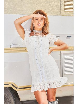 Boohoo Off The Shoulder Broderie Anglais Lace Up Dress