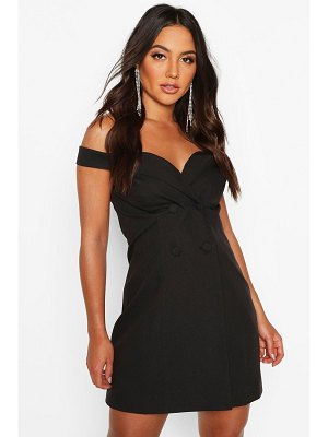 Boohoo Off The Shoulder Fitted Blazer Dress