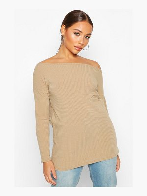 Boohoo Off The Shoulder Oversized Rib Knit Sweater