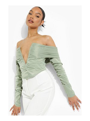 Boohoo Off The Shoulder Plunge Crop Top