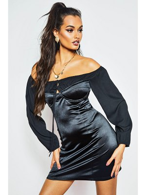 Boohoo Off The Shoulder Ruched Stretch Satin Dress