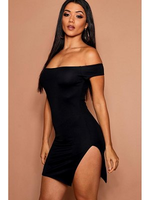 Boohoo Off The Shoulder Thigh Split Bodycon Dress