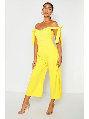 Boohoo Off The Shoulder Tie Culotte Jumpsuit