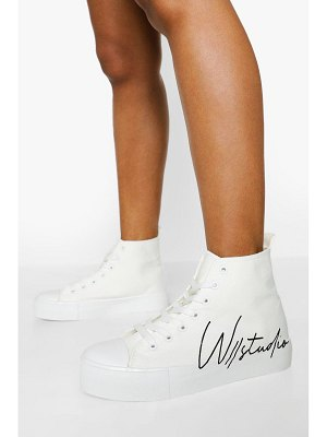 Boohoo Offical Canvas High Top Sneakers
