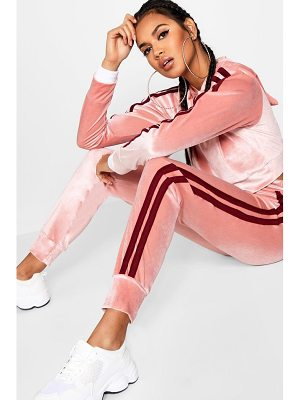 Boohoo Olivia Side Stripe Velour Jogger
