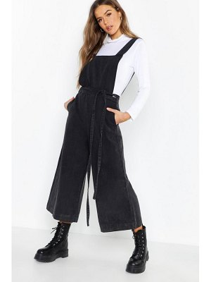 Boohoo Open Back Tie Waist Wide Leg Denim Jumpsuit