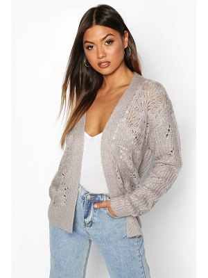 Boohoo Open Cable Knit Edge To Edge Cardigan