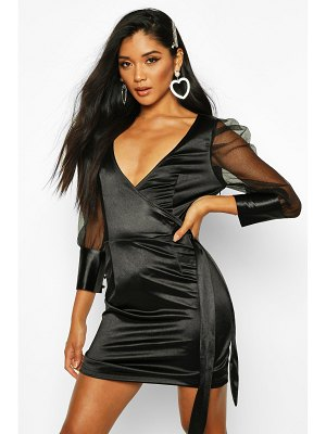 Boohoo Organza Ruffle Sleeve Mini Dress