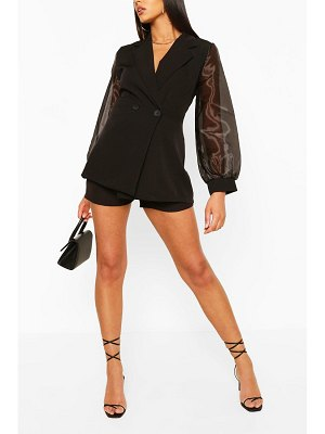 Boohoo Organza Sleeve Tailored Blazer