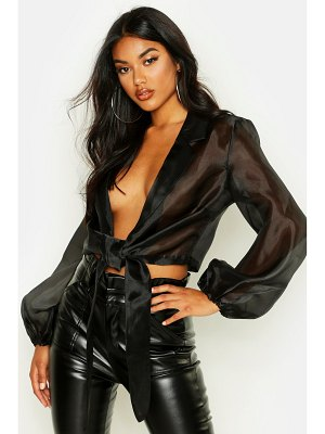 Boohoo Organza Tie Front Cropped Shirt