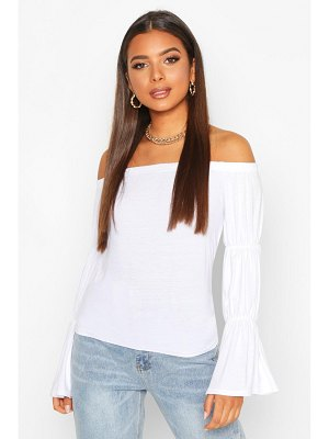 Boohoo Over The Shoulder Ruched Sleeve Top