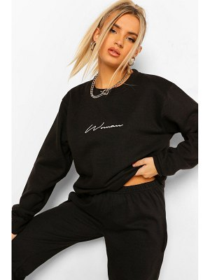 Boohoo Oversized Embroidered Woman Script Sweatshirt