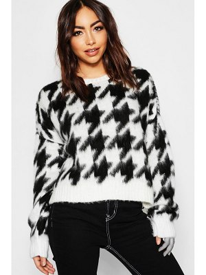 Boohoo Oversized Fluffy Knit Dogstooth Jumper