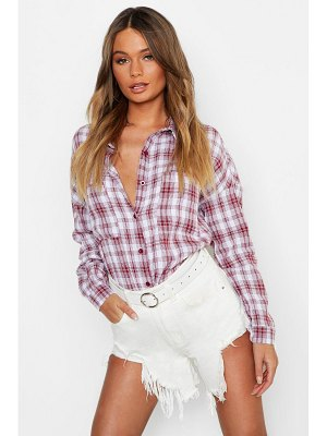 Boohoo Oversized Pocket Detail flannel Shirt