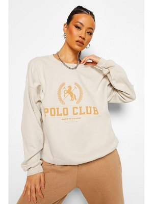 Boohoo Oversized Polo Club Sweatshirt
