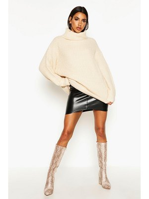 Boohoo Oversized Turtleneck Rib Knit Sweater