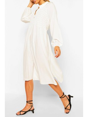 Boohoo Oversized Shirred Detail Midi Smock Dress