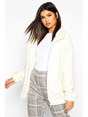 Boohoo Oversized Teddy Faux Fur Bomber