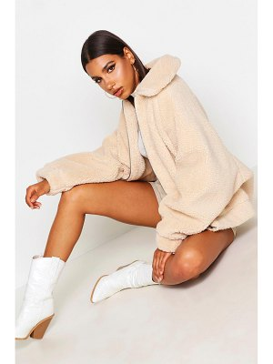 Boohoo Oversized Teddy Faux Fur Bomber Jacket