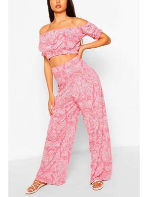 Boohoo Paisley Print Bardot Top & Wide Leg Trouser Co-Ord