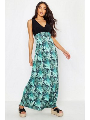 Boohoo Palm Print Maxi Dress