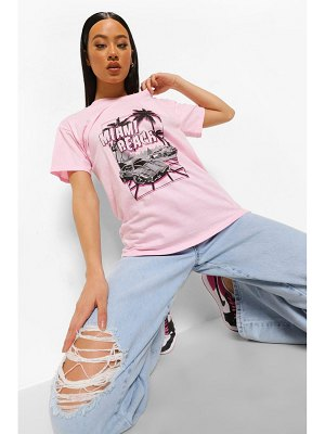 Boohoo Palm Print Slogan T Shirt