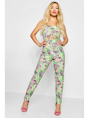 Boohoo Palm Print Cut Out Front Jumpsuit